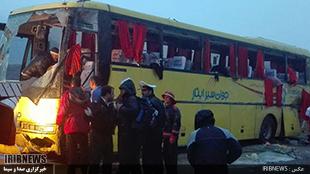 واژگونی اتوبوس زائران راهیان نور شهرستان ترکمن در محور خرم آباد بروجرد